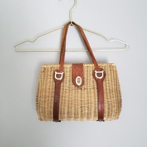 Vtg whicker woven basket purse w/ leather straps